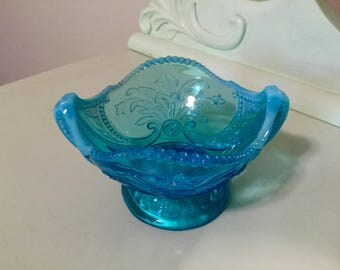 Antique Northwood Aqua Blue Opalescent Alaska Candy Sugar Bowl
