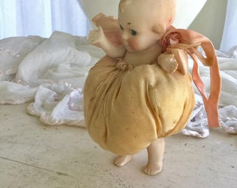 "Antique Cupie Doll In Bubble Ribbon Outfit German 6"" Bisque"