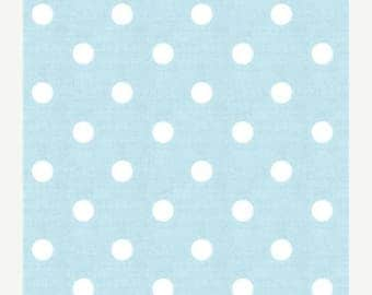 "ON SALE SAMPLE Sale Runner 20""-40""  Polka Dot White on Mist Blue Wedding table runner clearance rpst"