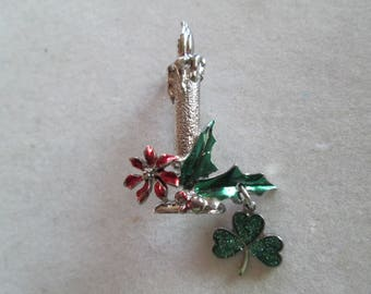 Christmas candle brooch pin with poinsettias and four leaf clover