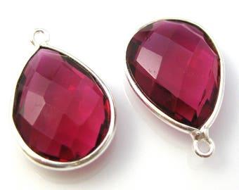 Bezel Gemstone Pendant, Charm - Sterling Silver-Faceted Teardrop Shape -Rubylite Quartz-22mm (2 pcs) - SKU: 201110-RLQ