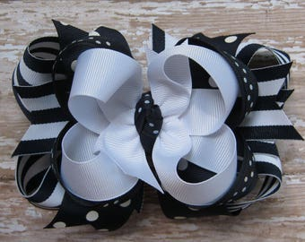 Large 5 inch Navy Blue & White Layered Boutique Grosgrain Hair Bow in Stripes and Dots