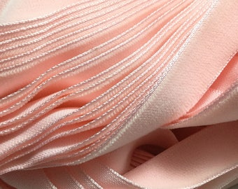 Vintage French Rayon VELVET Ribbon Taffeta Back -BABY PINK by the yard 5/8 inch