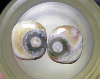 25% OFF Sale Ocean Jasper Earring Pair, Cogwheel Flower Orbs, Shades of Yellow, Raspberry,Green White