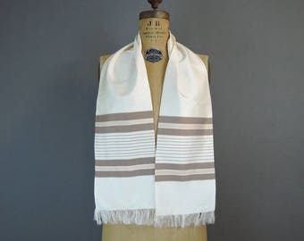 Vintage Scarf Ivory Silk with Brown Stripes & Fringe, Oblong 50x7 inches