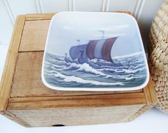 vintage viking sailing ship dish royal copenhagen vikingeskibe 1970s denmark porcelain