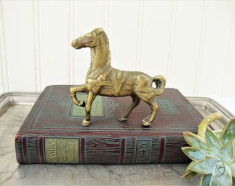 vintage horse small brass metal horse pony figurine paperweight