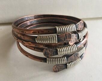 Copper Bangle Bracelets, Gift for her, Bangle Set, Copper Bracelets, Rustic Jewelry Daniellerosebean Bangles hammered copper Bracelet Stack