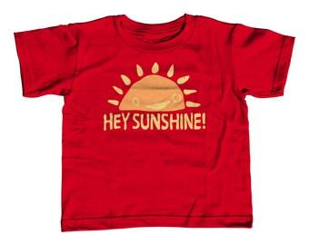 Kids Summer Shirt - Hey Sunshine Toddler Tee - Childrens Springtime Clothing - Happy Kids - Positive Attitude - Smiling Sun Tshirt