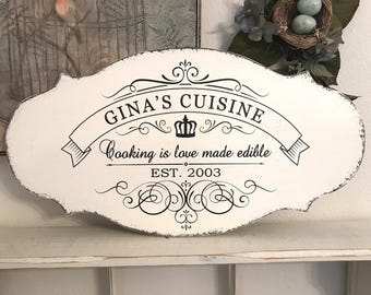Personalized Kitchen Signs | FRENCH Signs | Cuisine Signs | French Kitchen Signs | 12 x 24