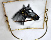 Set of 4 Horse Head Porcelain Coasters With Metal Goldtone Holders - Made in Japan