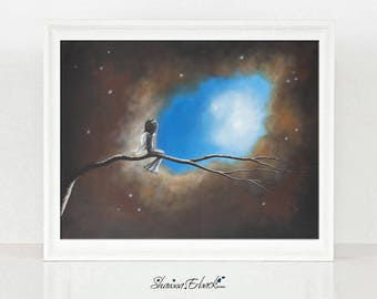 On Silent Wings - Guardian Angel Art Prints - Serene Art - Gift Ideas - Art For Bedroom - Fine Art Print - Limited Editions - Up In Sky