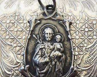 CLEARANCE SALE VERY Rare Antique Art Nouveau Catholic Saint Joseph Religious Miraculous Medal, Protector Of Fathers Patron Of Real Estate Ag