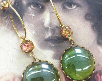 Vintage Glass Sea Foam Green and Opal Glass Cabochons in Brass Settings or Earring Kit Option 2191OPAL/GOL x2
