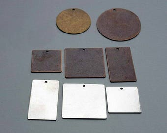 9 Stamping Blanks - Silver Brass Copper Variety Pack - Metal Stamping Hand Stamping Jewelry Metal Work Hand Stamped Charms Pendants