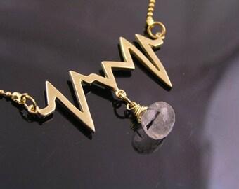 Heart Beat Necklace, Heart Beat Jewelry, EKG Necklace, ECG Necklace, Pulse Necklace, Love Jewelry, Gem Necklace, Gem Jewelry, N2041