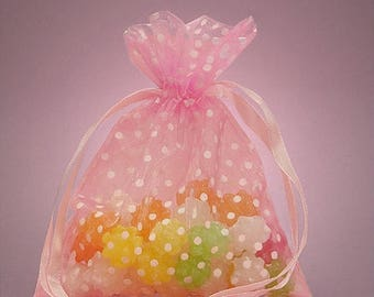 STOREWIDE SALE 10 Pack Sheer Organza Drawstring Bags  2.75 X 4 Inch Size Great For Gifts polka dot style