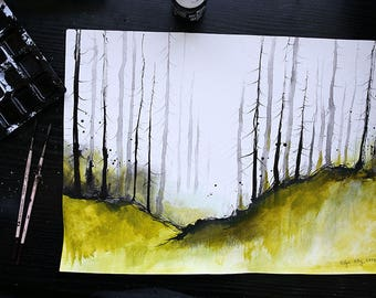 Forest painting - A3 - 16x12in  - boreal nordic forest landscape 1