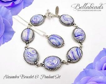 Flower Petal Jewelry,Memorial Jewelry, Custom Jewelry Idea, Memorial Gift Idea, Custom Pendant, Alexandra Set w/Pendant & Bracelet