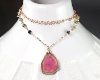 Summer SALE Watermelon Tourmaline necklace, Green Tourmaline, 14k Rose Gold Filled necklace, Gift for Her, October Birthstone