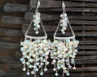 Summer SALE Ethiopian Opal Chandelier earrings, 925 Silver Opal earrings, Luxe earrings, Wedding Bridal jewelry, October Birthstone ... CIAN