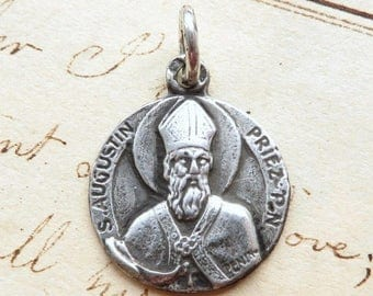 ON SALE St Augustine / Augustin Medal - Patron of students, beer lovers - Antique Reproduction