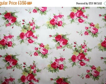 SUMMER SALE Pretty red & chartreuse green floral cotton poplin fabric ideal dressmaking and crafts 0.50 metre