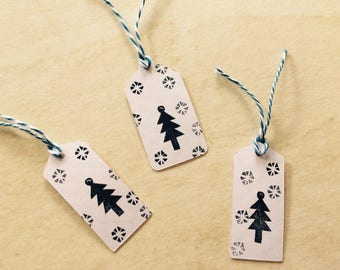 Christmas Tree rubber stamp// hand carved rubber stamp