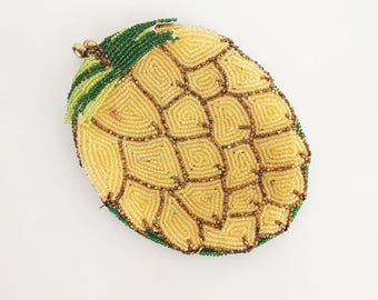 60s Hand Beaded Pineapple Coin Purse by Delill - Japan 1966