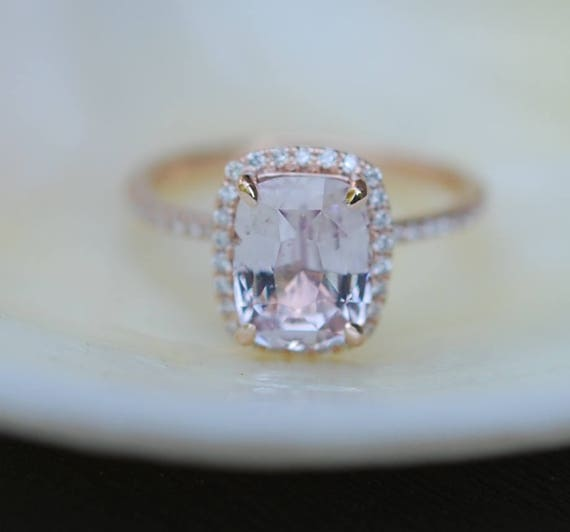 Ice peach engagement ring sapphire ring  2.7ct Cushion ice peach champagne sapphire 14k rose gold diamond ring