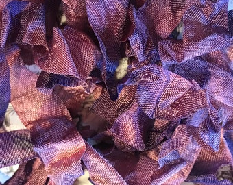 VINTAGE DUSTY CONCORD Crinkle Seam Binding Ribbon Crinkly Stained Hand Dyed Ribbon by Starry Nites Farm