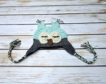 Sleepy Baby Owl Hat, Crochet Owl Baby Hat, Newborn Halloween Costume, Infant Animal Hat, Baby Earflap Hat, Newborn Boy Hat, Green