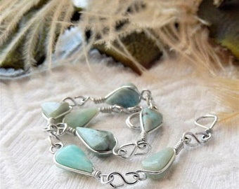 ChristmasInJulySALE..... Sale.....One of a Kind Sterling Silver Plated Wire and Amazonite Bracelet