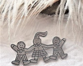 ChristmasInJulySALE..... Vintage Mexico .925 Sterling Silver EFS Save the Children Brooch/Pin