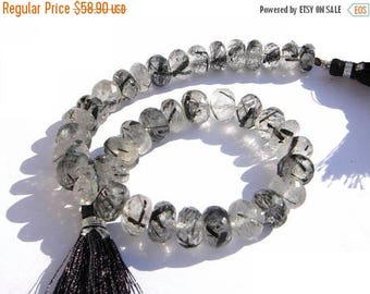 Sale 45% off 1/2 Strand 8-9mm Natural Black Rutilated Quartz Micro Faceted Rondelles Size Approx Finest Quality Great Price