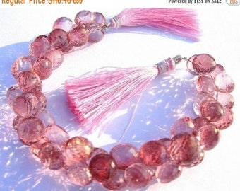 50% Off Sale Full 7.5 Inches - Pink Mystic Quartz Micro Faceted Onion Briolettes Size 7mm approx
