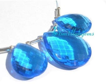 50% Off Sale 3 Piece Set Of AAA Swiss Blue Quartz Faceted Pear Briolettes Size 21x16 - 27x20mm approx