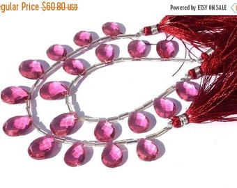 50% Off Sale 7 Inches -- AAA Rubelite Pink Quartz Faceted Pears Briolettes 14x10 - 16x10mm Approx