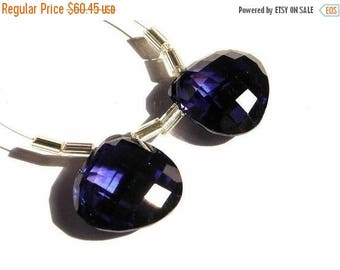 50% Off Sale AAA 15mm Blue Sapphire Corundum Quartz Faceted Heart Shaped Briolette Matched Pair 2Pcs