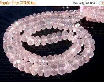 50% Off Sale 16 Inches - Finest Quality Genuine AAA Rose Quartz Micro Faceted Rondelles Size 7 - 9mm Approx