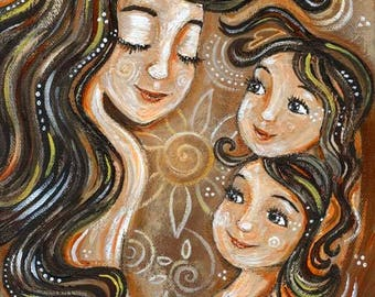 Interwoven, mother with 2 daughters with flower and warm brown tones
