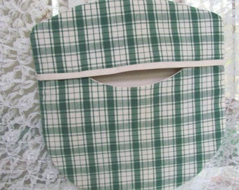 Clothes Pin Bag - Green and Cream Plaid - Repurposed Vintage Fabrics & Wood Hanger - Cottage Shabby