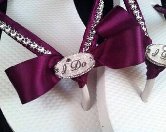 I Do Custom Bridal Flip Flops, Bride Flip Flops, I Do Custom Color Sandals, Dancing Shoes, Bridal Sandals, Beach Wedding Shoes, Bridal Shoes