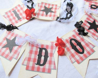 I Do BBQ Barbecue Just Married Wedding Banner Garland Bunting Rustic - We Do Chair Banner Sign Wedding Photo Prop Car Banner
