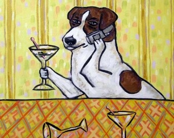 20 % off storewide Jack Russell Terrier at the Martini Bar Dog Art TIle Coaster Gift