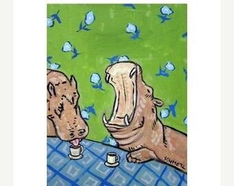 20 % off storewide Hippopotamus at the Coffee Shop Art Print 11x14 JSCHMETZ modern abstract folk pop art american ART
