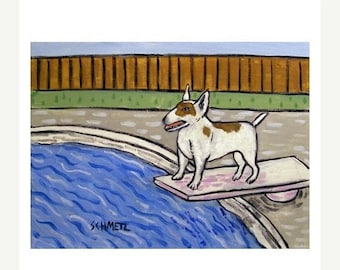 20% off storewide Bull Terrier at the Pool Dog Art Print