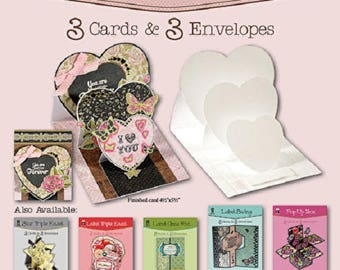 Heart Triple Easel Die-Cut Cards (3 pack) by Hot Off The Press