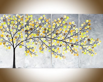 "Abstract painting Yellow grey painting large wall art Modern art impasto canvas art original artwork ""Weeping Willow"" by QiQigallery"