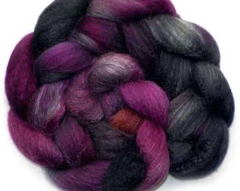 50/50 BFL/Silk Combed Top Roving Custom Blend, Black Grape, 4.1 oz.